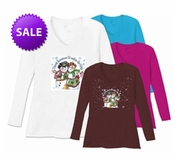 SOLD OUT! There's Snowman I'd Rather Be With Plus Size V Neck Shirt 5X -White-Raspberry-Teal-Brown- Christmas!