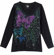 SALE! Just Reduced! Three Butterflies Glittery on Black Plus Size Long Sleeve T-Shirt 4X 5x