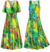 SALE! Tropical Gardens Slinky Print Plus Size & Supersize Short or Long Sleeve Dresses & Tanks - Sizes 0X