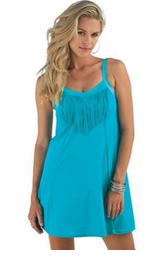 SALE! Turquoise Fringe 1 Piece Plus Size Swimdress 28W 30W 32W 34W