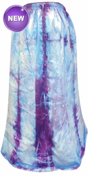 SALE! Turquoise & Purple Tie Dye Plus Size Mid Length Denim Skirt 38W