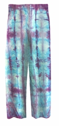 CLEARANCE! Turquoise & Purple Tie Dye Straight Leg Pocket Zippered Plus Size Denim Jeans and Capris 34W 40T