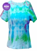 SALE! Tie Dye Blue Round Neck Petite T-Shirt 2xP