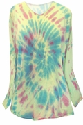 SALE! Tie Dye Spiral Lime Green Long Sleeve V Neck Plus Size T-Shirt 5x