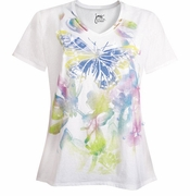 NEW! White Butterfly Glittery Plus Size T-Shirt 4x