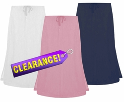 FINAL SALE! White, Dark Blue Or Pink Demin Plus Size Mid Length Skirt 3x 4x 5x 6x 7x
