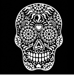 White Sugar Skull Smiling With Heart on Forehead Plus Size & Supersize T-Shirts S M L XL 2x 3x 4x 5x 6x 7x 8x 9x (All Colors)