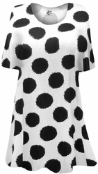 NEW! White With Black Dots Supersize Extra Long T-Shirts 3x 4x 5x 6x 8x