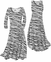 NEW! Customize White With Black Zebra Stripes With Dots Slinky Print Plus Size & Supersize Standard or Cascading A-Line or Princess Cut Dresses & Shirts, Jackets, Pants, Palazzo's or Skirts Lg to 9x