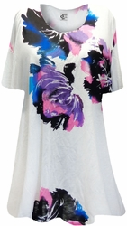SALE! White With Pink, Black and Blue Big Flowers Supersize Extra Long T-Shirts 3x 4x 5x 6x 8x