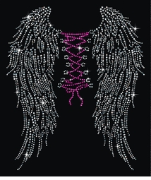 NEW! Wings & Corset Tie On Backside Rhinestuds Rhinestones Plus Size & Supersize T-Shirts S M L XL 2x 3x 4x 5x 6x 7x 8x 9x (All Colors)
