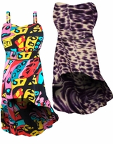 La Muse Pink & Black or Dark Purple Animal Skin Slinky Strapped or Strapless Cascading Plus Size & Supersize Customizable Tops & Dresses 0x 1x 2x 3x 4x 5x 6x 7x 8x 9x