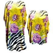Yellow With Purple Flowers Zebra Print Plus Size & Supersize Caftan Dress or Shirt 1x to 6x