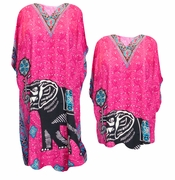 SALE! Hot Pink Lucky Elephant With Flower Print Plus Size & Supersize Caftan Dress or Shirt 1x to 6x