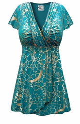 NEW! Teal With Gold Metallic Slinky MAGIC BABYDOLL Top In Plus Size & Supersize Lg XL 0x 1x 2x 3x 4x 5x 6x 7x 8x