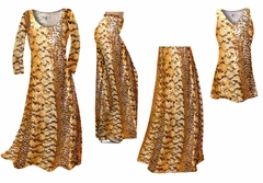 Orange, Brown, and Yellow Autumn Leaves Metallic Slinky Print - Plus Size Slinky Dresses Shirts Jackets Pants Palazzo�s & Skirts - Sizes Lg to 9x