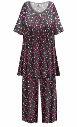 SALE! Customizable Skulls N' Roses Print Plus Size & SuperSize 2 Piece Pajama Pant Set 0x 1x 2x 3x 4x 5x 6x 7x 8x 9x