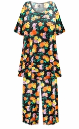 SALE! Customizable Black with Orange & Yellow Roses Print Plus Size & SuperSize 2 Piece Pajama Pant Set 0x 1x 2x 3x 4x 5x 6x 7x 8x 9x