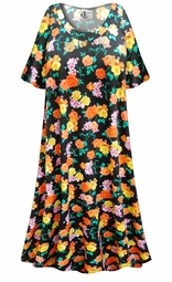 SALE! Customizable Black with Orange & Yellow Roses Print Plus Size & SuperSize Muumuu - Moo Moo Dress 0x 1x 2x 3x 4x 5x 6x 7x 8x 9x