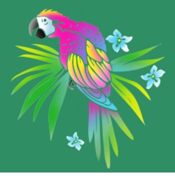 FINAL SALE! Neon Tropical Parrot on Shamrock Green Round Neck Petite Plus Size T-Shirt 1x 2x 3x