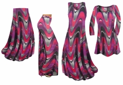Pink and Purple Zig Zag Swirls Slinky Print - Plus Size Slinky Dresses Shirts Jackets Pants Palazzo�s & Skirts - Sizes Lg to 9x
