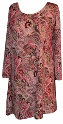 Pink Paisley Sequins Plus Size & Supersize Extra Long Shirts  1x