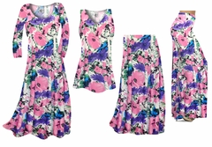 Pink, Purple, and Blue Bellflowers Slinky Print - Plus Size Slinky Dresses Shirts Jackets Pants Palazzo�s & Skirts - Sizes Lg to 9x