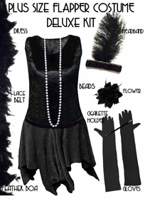 Plus Size Flapper Costume All Black Roaring 20's Plus Size Flapper Costume Kit Plus Size & Supersize Lg XL 0x 1x 2x 3x 4x 5x 6x 7x 8x 9x