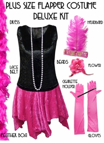 Plus Size Flapper Halloween Costume Black & Pink Roaring 20's Plus Size Flapper Costume Kit Plus Size & Supersize Lg XL 0x 1x 2x 3x 4x 5x 6x 7x 8x 9x