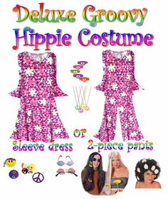 SALE! -- PINK AND WHITE FLORAL -- Select Sizes ONLY! -- Plus Size Hippie Costume Groovy 60's Style Retro Moo-Moo Dress or Top & Bell-Bottom Pant Set Plus Size & Supersize Hippie Halloween Costume Kit -Select Sizes Only!!-