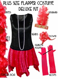Plus Size Roaring 20's Flapper Costume Black & Red Halloween Costume Kit Plus Size & Supersize Lg XL 0x 1x 2x 3x 4x 5x 6x 7x 8x 9x