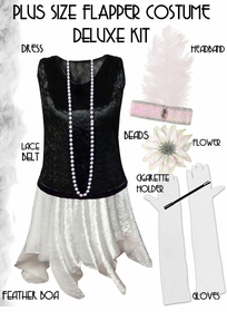 Plus Size & Supersize Flapper Costume Black & White Roaring 20's Plus Size Kit Plus Size & Supersize Lg XL 0x 1x 2x 3x 4x 5x 6x 7x 8x 9x