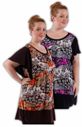SALE! Pretty Black/Gray - Black/Pink - Brown/Rust - Black/Fucshia Pink Slinky Print Plus Size Tops! 4x 5x 6x