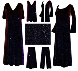Pretty Black with Multi Glimmer Slinky Plus Size & Supersize Customizable Dresses, Shirts, Pants, Skirts  or Jackets Lg to 9x