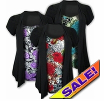 SALE! Pretty Pretty! Mock 2 Piece Slinky Tops! Purple & Black! Red & Black! Yellow & Black! Plus Size Shirts 4x