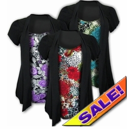 SALE! Pretty Pretty! Mock 2 Piece Slinky Tops! Purple & Black! Red & Black! Yellow & Black! Plus Size Shirts 4x 5x 6x