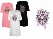 FINAL SALE! Rebel Skull Butterfly Plus Size & Supersize T-Shirts 4x