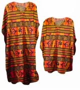 Red Tribal Print Poly/Satin Plus Size & Supersize Caftan Dress or Shirt 1x to 6x