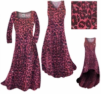 SALE! Red With Hot Pink Glittery Leopard Slinky Print Plus Size A-Line Dresses 1x 6x