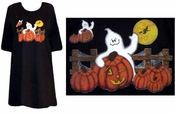 FINAL SALE! Minor Defect! Black or Gray Pumpkin Ghost Halloween Plus Size & Supersize T-Shirts  4xl