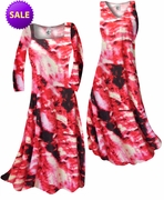 SALE! Red & Black Fire Tye Dye Slinky Print Plus Size & Supersize Standard A-Line Dresses 2x