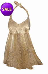 SALE! 2-Piece Gold Leopard Metallic Print Plus Size Halter SwimDress 2pc Swimsuit 0x 1x 3x