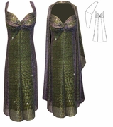 SALE! 2-Piece Semi-Sheer Sparkly Green & Purple Strokes Glimmer - Fully Lined - Plus Size & SuperSize Princess Seam Dress Set 0X 1X