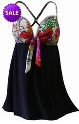 SALE! 2pc Colorful Black & White Floral Plus Size Swim Dress Swimsuit and Matching Bottoms 0x