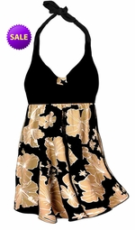 SALE! 2pc Pretty Black & Tan Floral Floral Plus Size Halter SwimDress Swimwear or Shoulder Strap 2pc Swimsuit 0x 4x