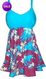 SALE! 2pc Pretty Purple and Turquoise Floral Seas Plus Size Swimsuit Shoulder Strap with Shorts 1x