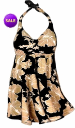 SALE! 2pc Pretty Tan Floral Floral Plus Size Halter SwimDress Swimwear or Shoulder Strap 2pc Swimsuit 0x 1x
