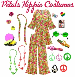 SALE! Airbrushed Petals Print Hippie 2PC Set - 60�s Style Retro Plus Size & Supersize Halloween Costume Kit Lg XL 0x 1x 2x 3x 4x 5x 6x 7x 8x 9x