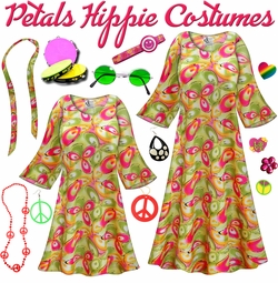 SALE! Airbrushed Petals Print Hippie Dress - 60�s Style Retro Plus Size & Supersize Halloween Costume Kit Lg XL 0x 1x 2x 3x 4x 5x 6x 7x 8x 9x