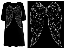 SOLD OUT! Angelic Rhinestone Outlined Wings Plus Size & Supersize T-Shirts